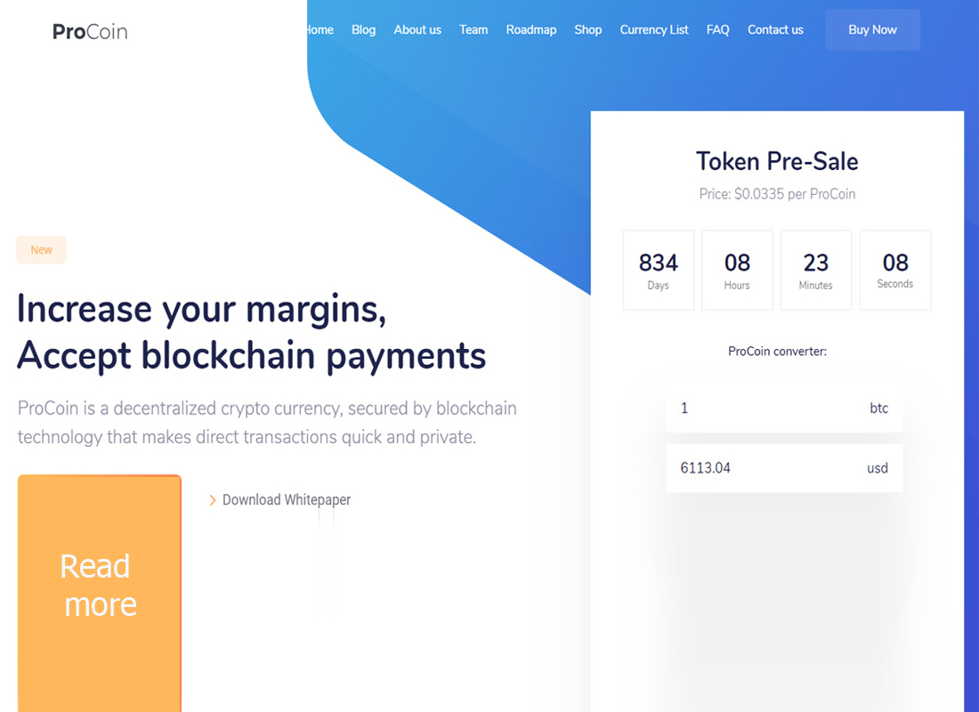 ProCoin Theme for Cryptocurrency