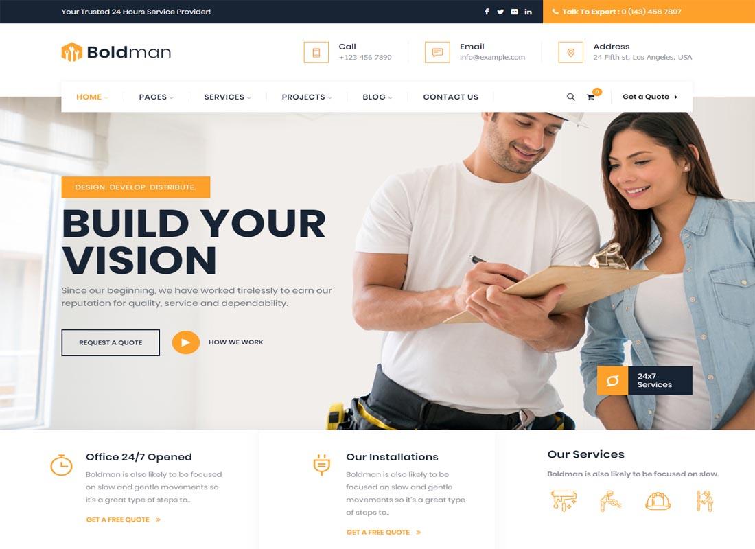 BoldMan WordPress Theme for Plumber services website