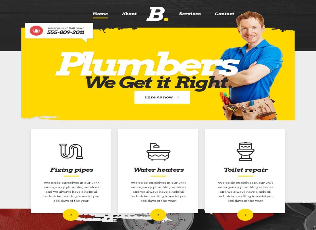 Bridge Plumber Services Theme for WP Websites