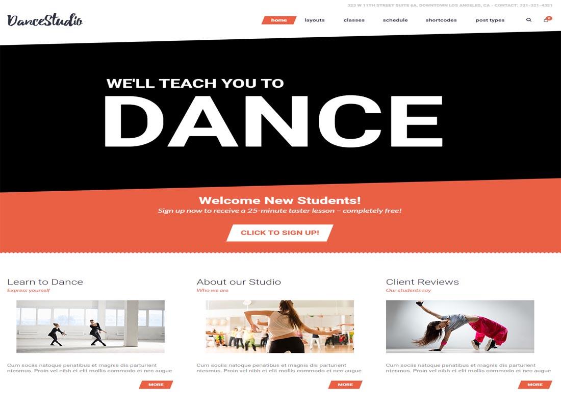 Dance Studio WP Theme