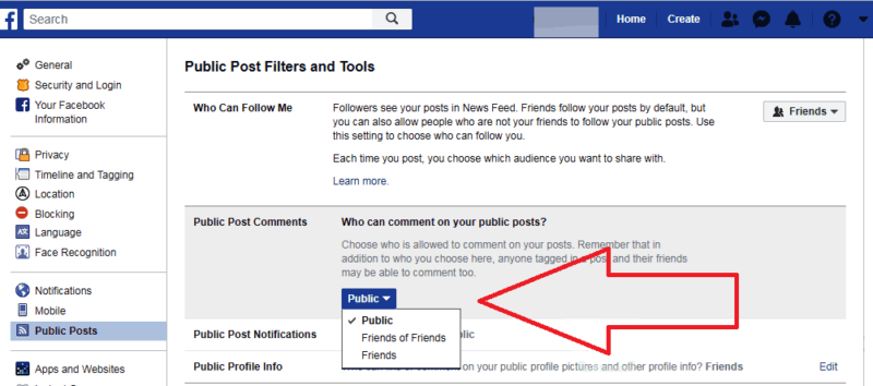 facebook comments privacy option