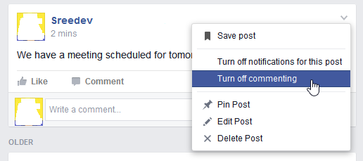 facebook turn off comments on page or group