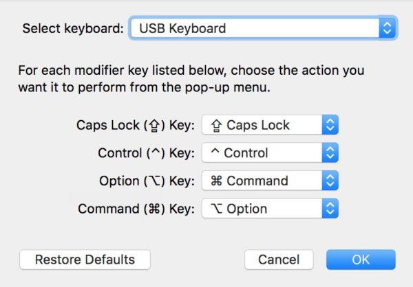 mac key mapping