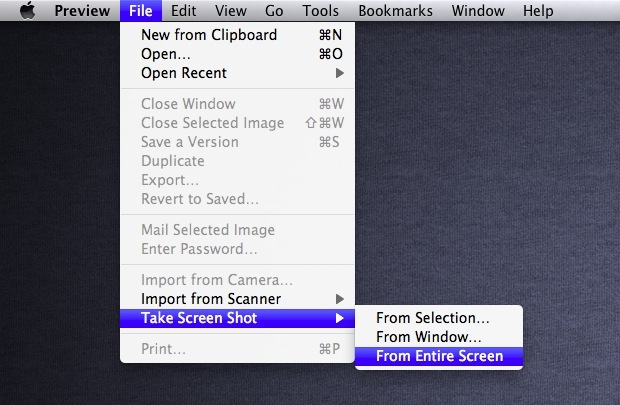take screenshot usinig preview