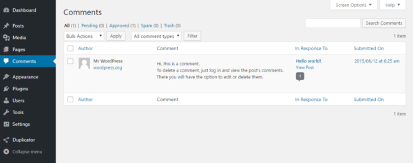 disable wordpress comments manually