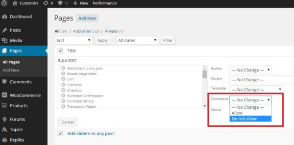wordpress page comments